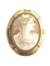 Gf Italian Lady Profile As Found Antique Victorian Pink Shell Cameo Gold