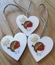 3 X Robin Christmas Decorations Hanging Dec Country Shabby Chic With Snowflakes