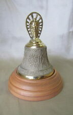 """Bronze Christening Bell with Angel on Wooden Pedestal, Godparents Gift,2.5"""" X 4"""""""