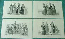 4 gravures TURQUIE dignitaires et soldats, costumes, XIX s.