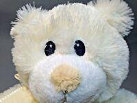 Russ Berrie Teddy Bear Plush Bless This Little One White Cream Stuffed Animal