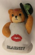 "Enesco 2 1/2"" Lucy & Me Bear Dressed in White w Kiss with Shamrock Hat Figurine"