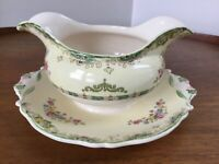 Vtg Steubenville Ivory Gravy Boat With Attached Underplate ~ Green Trim Florals