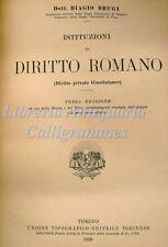 DIRITTO: B. Brugi, ISTITUZIONI DI DIRITTO ROMANO 1926 UTET Privato Giustinianeo