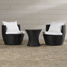 COMPACT Outdoor WICKER Rattan Cushion Chairs & Table SET Garden PATIO FURNITURE