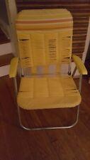 Vintage Retro Aluminum Folding Lawn Chair Vinyl Webbed