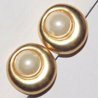 Vintage off center round faux pearl cabochon gold tone clip earrings, unpierced