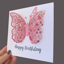 BUTTERFLY Birthday Card 3D Handmade Blank Inside Greeting Card
