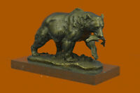 Bronze grizzly bear, fish, bronze sculpture, bronze figure, sculpture, figure