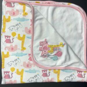 Gymboree Pink Elephant Giraffe Balloons Zebra Tiger Baby Blanket Cotton 2017
