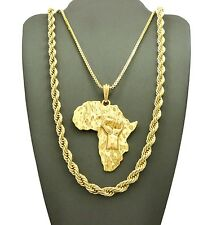 """NEW FIST POWER AFRICA MAP PENDANT/24"""" BOX & 30"""" ROPE CHAIN NECKLACE SET RC2016G"""
