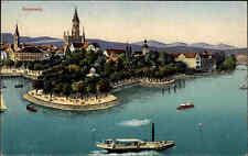 KONSTANZ Bodensee ~1910 color Postkarte ungelaufen Schiff Dampfer auf dem See