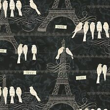 Paris Charm Eiffel Tower Print Black Premium 100% Cotton Fabric by the Yard