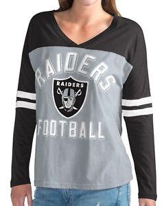 """Oakland Raiders NFL Women's G-III """"Goal Line"""" Long Sleeve V-Neck T-shirt"""