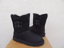 UGG RENLEY BLACK LEATHER/ SHEEPSKIN WARM WINTER BUCKLE BOOTS, US 7/ EUR 38 ~NEW