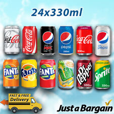 SOFT DRINK CANS 330ml *24 PACK* Coca Cola, Sprite, Pepsi, Fanta, Dr Pepper, Lilt