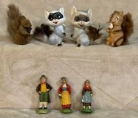 VTG Lot 7 Small People & Forest Woodland Animal Figurines Squirrel Raccoon Decor