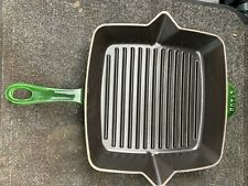 Staub Cast Iron 10-inch Square Grill Pan BASIL GREEN never used