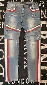 KINGZ Herren Biker Jeans Hose hellblau mit ro weißen Streifen 36 L34 - NP 119€