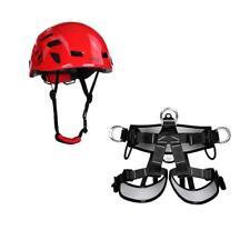Rescue Caving Rock Climbing Rappelling Harness Seat Belt + 54-62cm Helmet