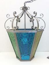 Mid Century 6 Blue, Green & Yellow Textured Panel Stained Glass Swag Lamp EUC
