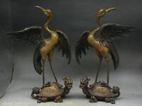14 « vieux cuivre gilt feng shui animal tortue dragon crane oiseaux statue paire