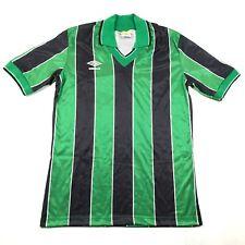 Vintage Umbro Mens M Green Black Jersey Shirt Soccer Football Striped Collared