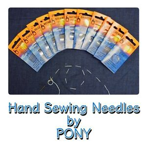 HAND SEWING NEEDLES Packs of Gold Eye Quality Needles Assorted Sizes by Pony
