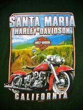 HARLEY DAVIDSON Mens Long Sleeve Green Shirt Santa Maria California Graphic Lg