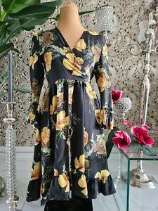 42 Philipp Plein 100% Seide schwarzes Kleid mit gelben Blumenmotiv Gr. M 36/38
