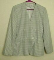 WOMEN'S EXECUTIVE COLLECTION BLAZER JACKET MADE IN EGYPT GREEN WHITE SIZE 10