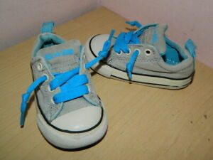 infant grey/blue textile Converse All Star lace up shoes trainers uk 5 eur 21