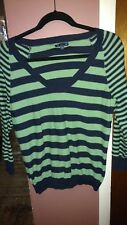 Gap Women's Medium V-neck Green and Navy Blue Striped Pullover Sweater