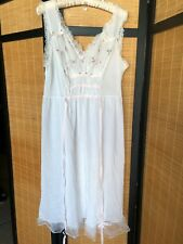 Vintage Blue Swan White Nylon Long Nightgown Embroidered Chiffon Bust 38  Sissy b9b254a92