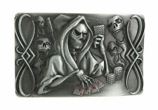 Death Skull Playing Poker Cards Casino Metal Belt Buckle