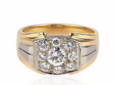 Art Deco 750 Gelb Gold 0,85ct Brillant Top Wesselton Lupenrein Damen Herren Ring