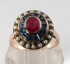 LARGE 9CT 9K ROSE GOLD RUBY SAPPHIRE PEARL ART DECO INS TARGET RING FREE RESIZE