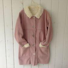 Nils Sportswear Coat Size L Faux Swede & Faux Fur - Polyester & Acrylic USA Pink