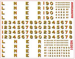 """Modelmaster Decals OO Gauge L.N.E.R. 12"""" Loco Lettering & Numbering NE001"""