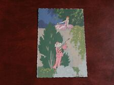 ORIGINAL G. MESCHINI SIGNED ART DECO GLAMOUR POSTCARD, GARDEN, PIERROT, MUSIC.