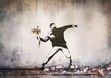 Poster for NEW Banksy Street  Art Silk Fabric 20x13 Decor 03