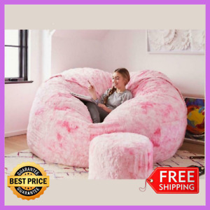 Microsuede 7ft Foam Giant Bean Bag Memory Living Room Soft Chair Lazy Sofa Cover