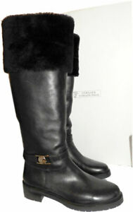 $998 VERSACE Boots Tall Knee Flat Shearling Fur Lined Leather Black Booties 41