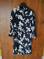 JOHN LEWIS KIN MIDI DRESS Kimono Floral Print Shift Grey White UK 10 / 38 - VGC