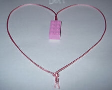 6 GIRL PINK LEGO BRICK BLOCK NECKLACES  PINK CORDS BIRTHDAY PARTY FAVORS