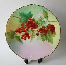 JPL France Limoges China Cabinet Plate Charger with Berry Motif Artist Signed