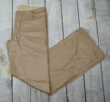 Paris Blues Women's Shimmer Coated Wide Leg Pants Jeans Beige/Gold Khaki Large L