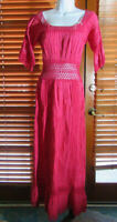 Details about  /Peasant Mexican Red Maxi Dress 2pc Ruffle cinco d Mayo Wedding lace ribbons Vtg