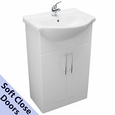 550mm BATHROOM VANITY CUPBOARD UNIT BASIN SINK WHITE CHROME MIXER TAP with WASTE