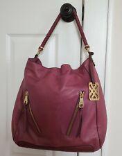 Joelle Hawkens by Treesje Sydney Large Leather Shoulder Bag Tote Purse Purple